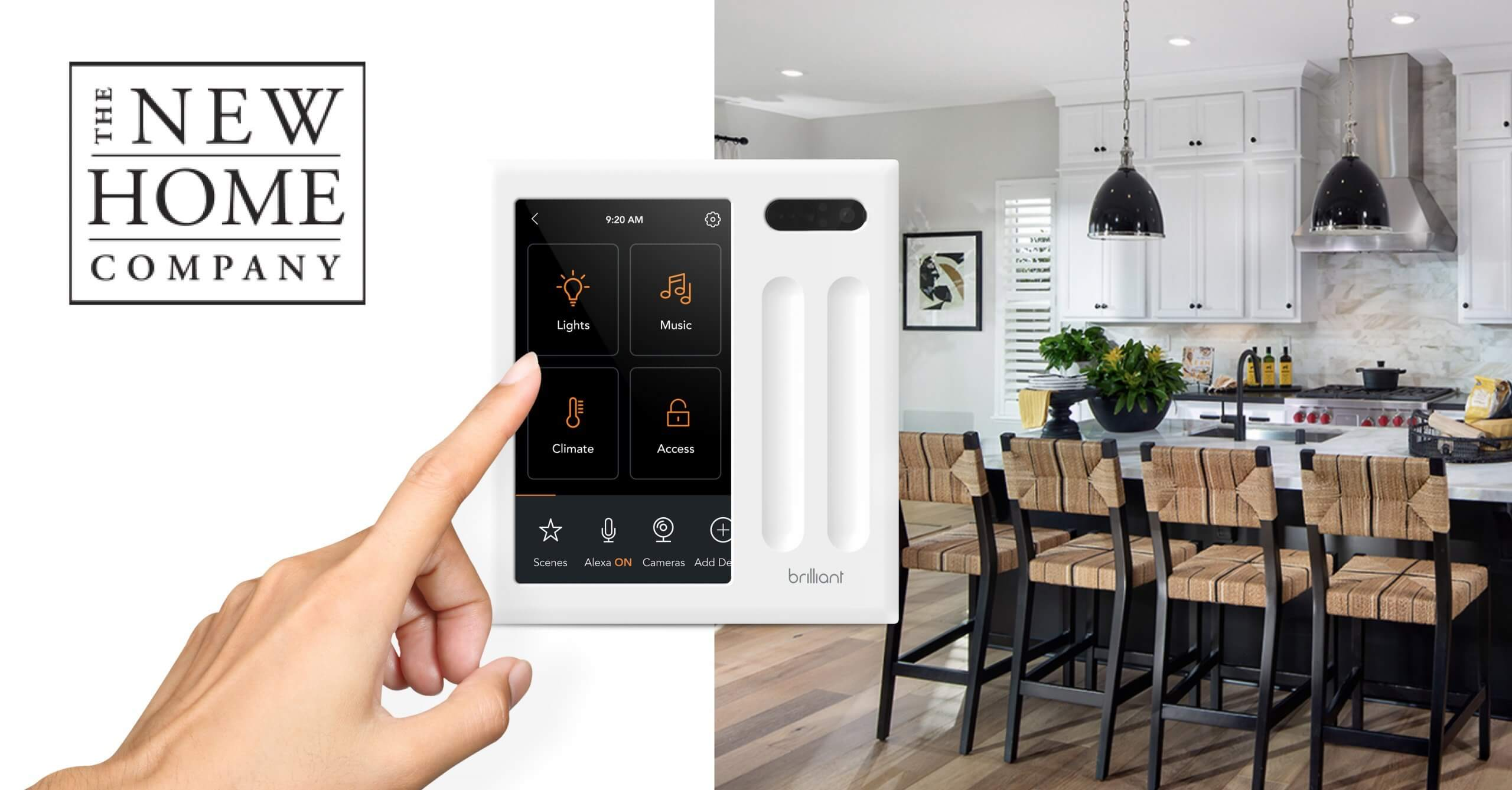 """Titled """"The New Home Company"""" image of hand selecting """"lights"""" option on a white brilliant smart home panel that also includes music, climate, and alarm as options. Image to the right is of a modern kitchen with island and pendant lighting turned on."""